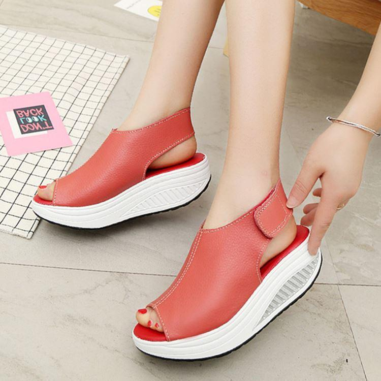 Women Leather Comfort Peep Toe Walking Wedges Sandals