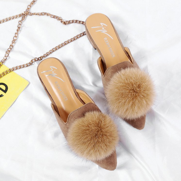 Fashion Wear Fur Ball With Thick Pointed Slippers