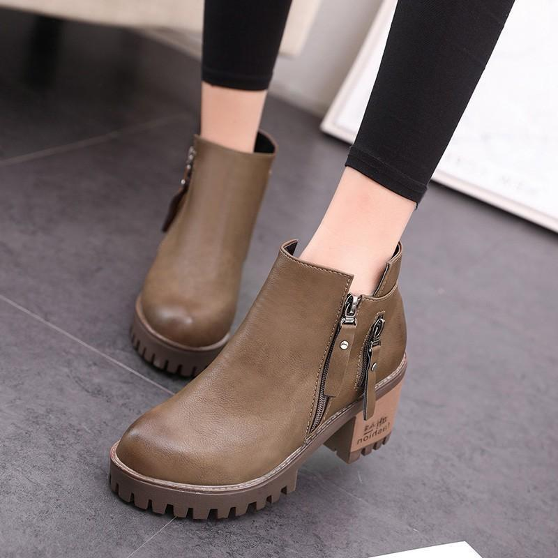 Women  Double-Row Zippered Boots