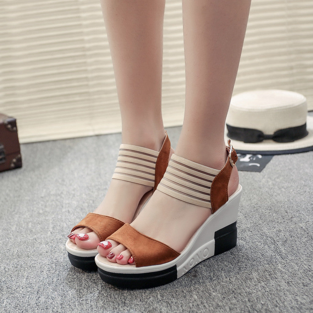 Casual Belt Buckle High Heel Fish Mouth Sandals