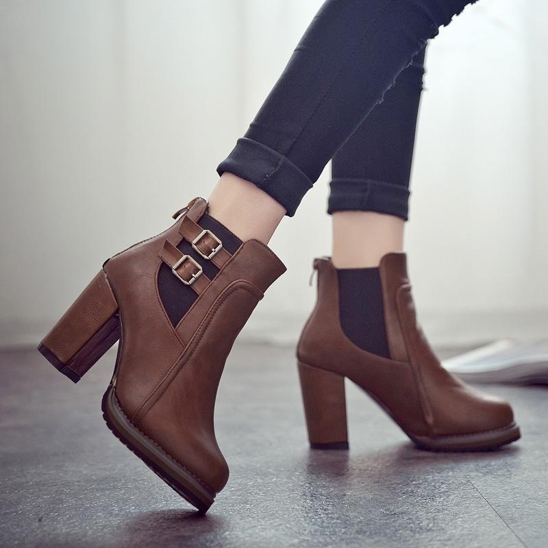 Women Chunky Heels Ankle Buckle Pump Boots