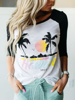 Hawaii Dream Graphic Raglan Tops