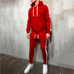 Men Hooded Solid Color Sports Suit