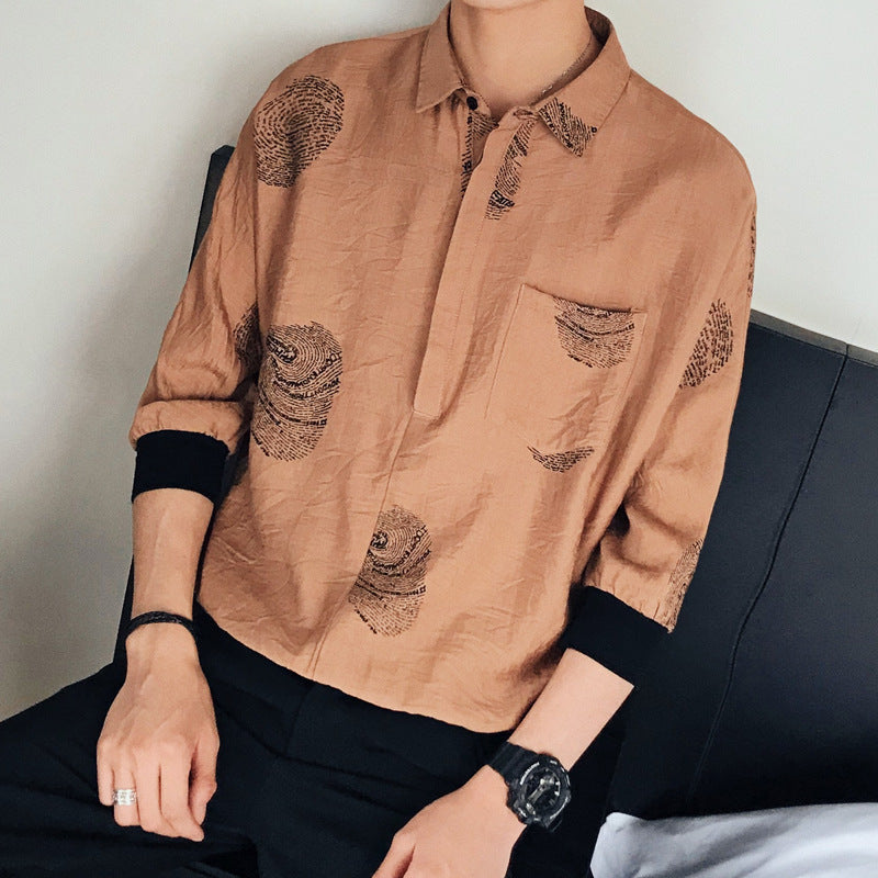 Solid color printing Casual loose Shirt