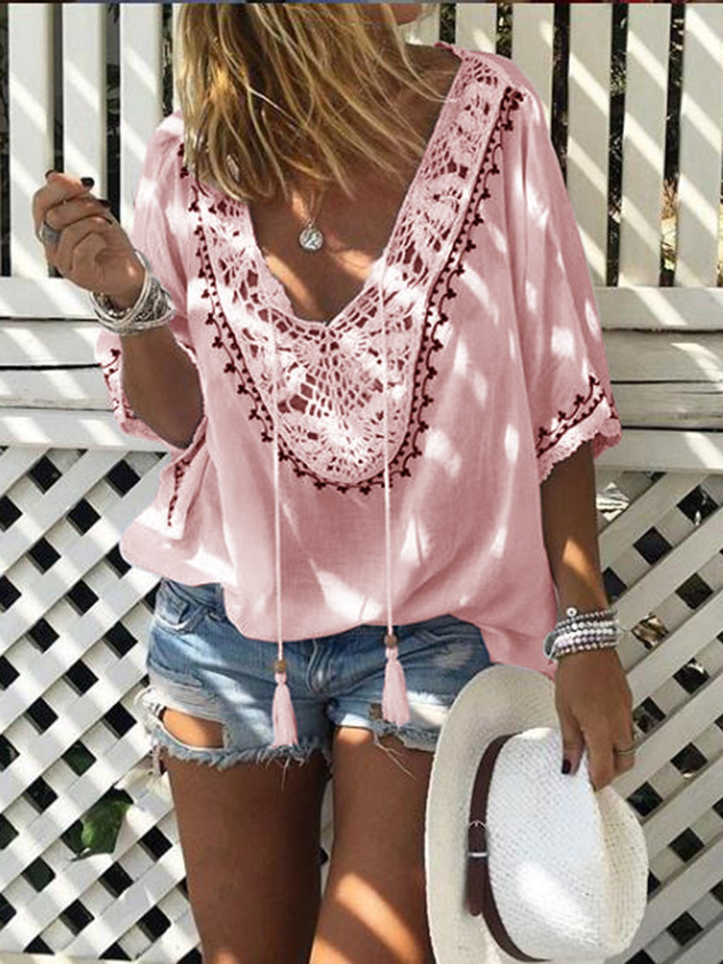 Summer Lace Collar Blouse
