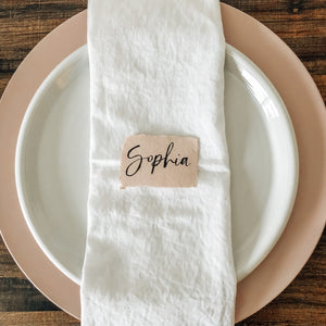 Place card | Brush lettering | Blush deckled edge paper