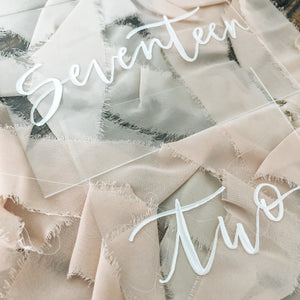 Table numbers | Brush-lettered acrylic