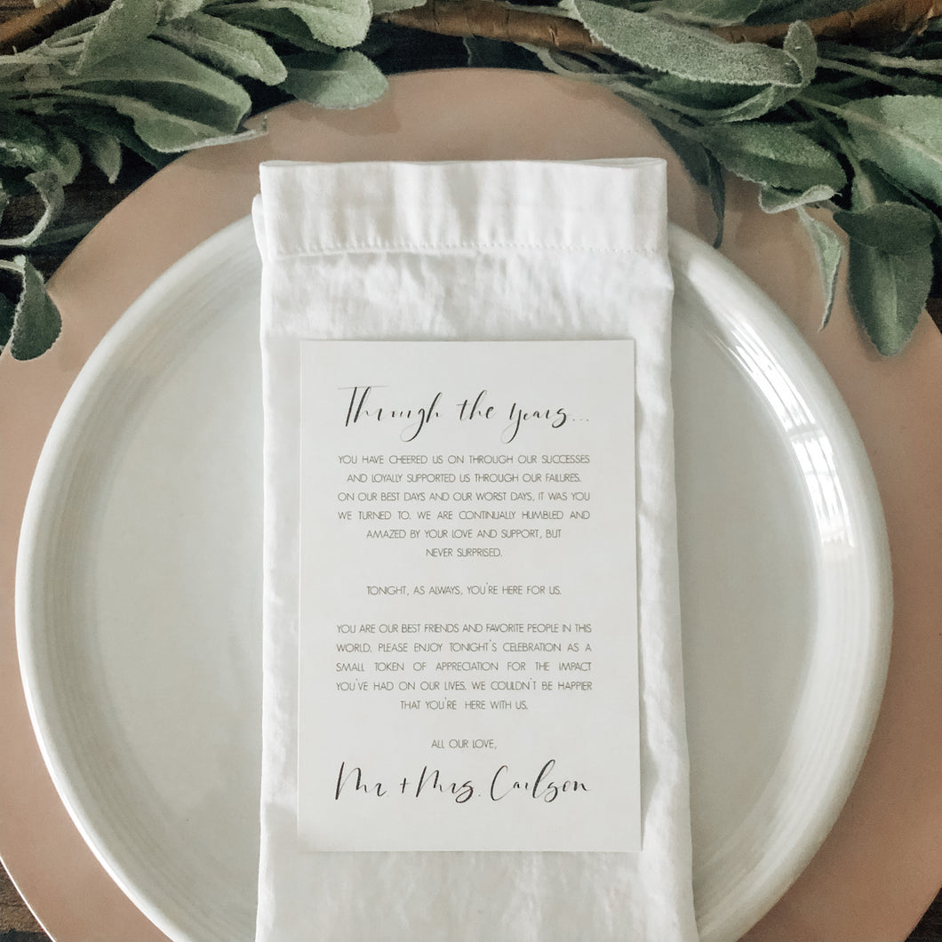 Dinner note | Customized place setting note