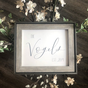 Custom name/established date | Bridal shower, wedding gift