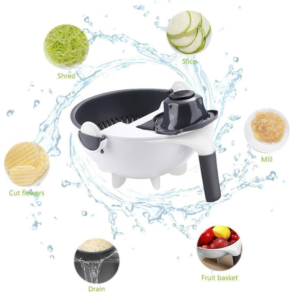 9-1 MAGIC ROTATE VEGETABLE CUTTER SLICER WITH DRAIN BASKET