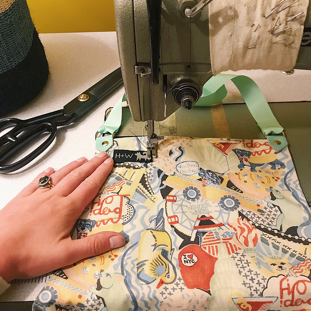 Amy sewing the new New York Print