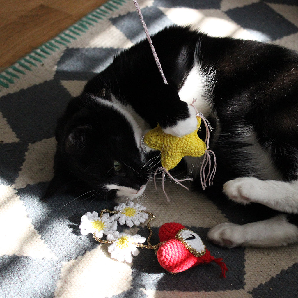 Cheyenne's cat with crocheted cat toys