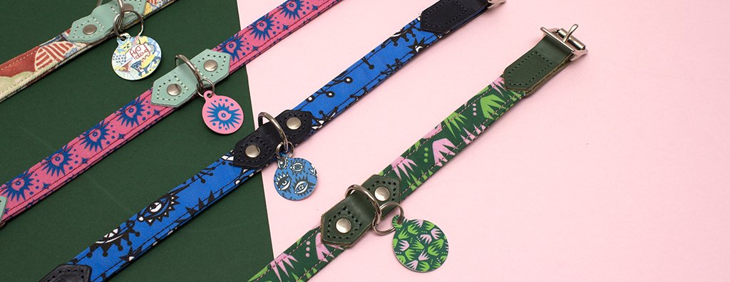 4 Collars in a row with coordinating pet tags