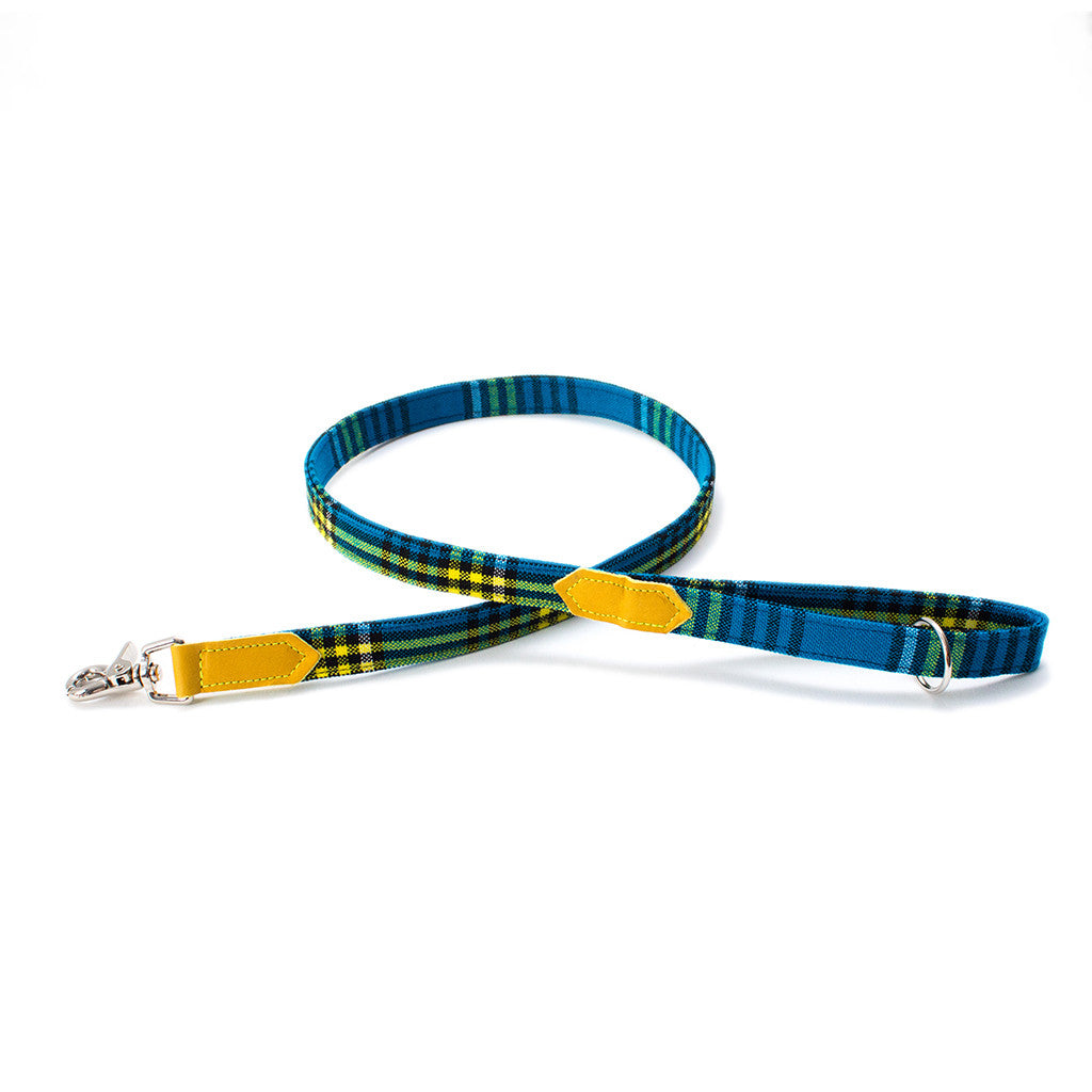 Hiro + Wolf Botanical Shuka Blue Classic Dog Lead with Yellow Leather