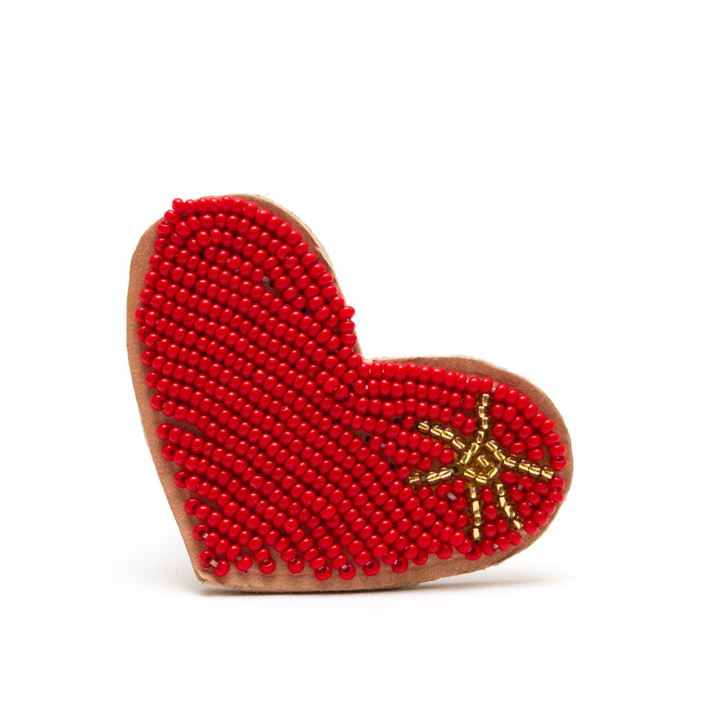 Beaded Heart Dog Collar Brooch