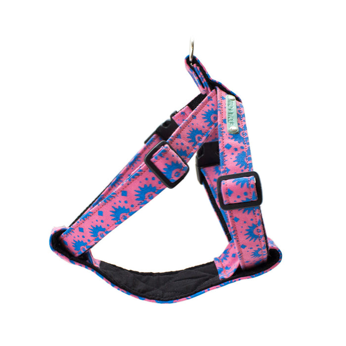 hiro + wolf printed blue and pink dog harness