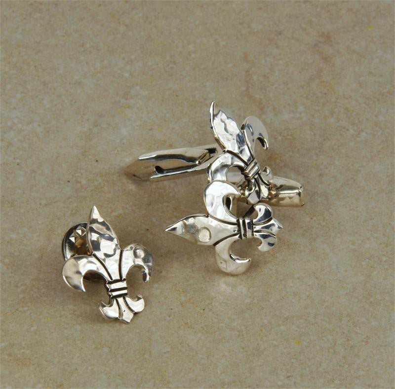 Hammered Sterling Silver Fleur De Lis Lapel Pin/Tie Tack And Cuff Links