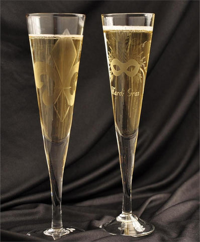 Fleur-de-Lis and Mardi Gras Champagne Glasses (sold separately)