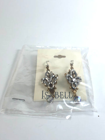 Fleur De Lis Layered Drop Earrings with Swarovski Crystals