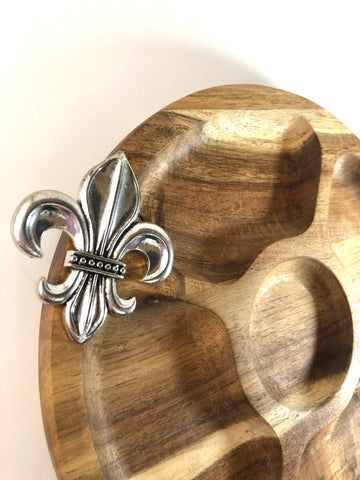Fleur De Lis Round Acacia Wood Sectional Serving Board