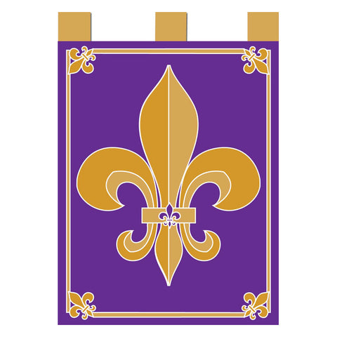 Double Applique Purple and Gold Fleur-de-Lis Flag