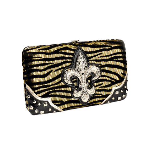 Black and Gold Zebra Print Hard Case Fleur de Lis Wallet