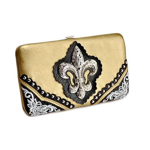 Black and Gold Fleur-de-Lis Hard Case Wallet