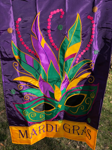 Double Applique Mardi Gras Mask Flag (Large Size) by Magnolia Lane