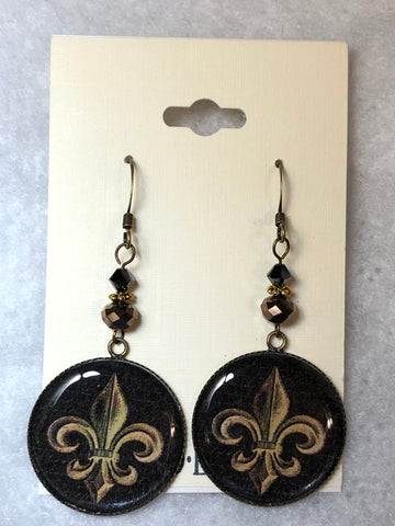 Black and Gold Fleur De Lis Isabella Earrings
