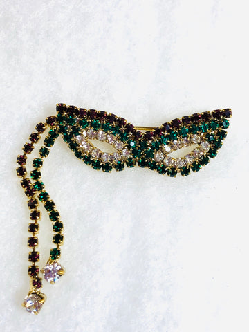 Mardi Gras Mask Pin with Dangling Rhinestone Tassels