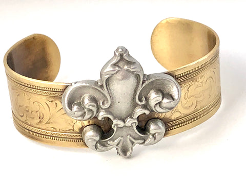 Brass and Pewter Fleur De Lis Cuff Bracelet