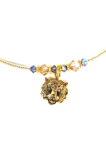 Isabella Gold Tiger Necklace with Crystals