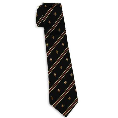 Fleur-de-Lis with Stripes Tie (Black)