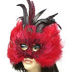 Red Maribou Mardi Gras Feather Mask