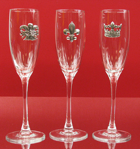 Champagne Flutes (Choose Jester, Fleur-de-Lis & Crown, Sold Separately)