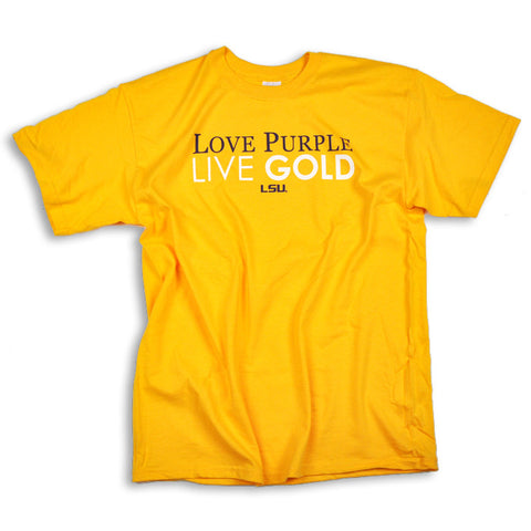 LSU Love Purple Live Gold T-Shirt (Bayou Apparel)