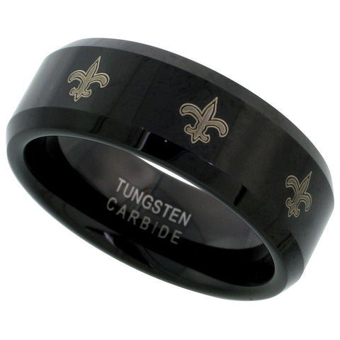 Unisex Black and Gold Fleur de lis Ring