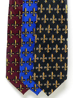 Men's Fleur-de-Lis Tie (Choose Burgundy, Royal Blue or Black)