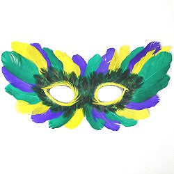 Mardi Gras Feather Half Mask