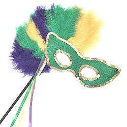 Mardi Gras Feather Mask on Stick