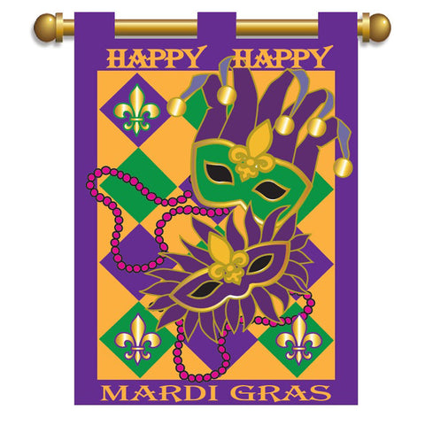 Double Applique Mardi Gras Masks Fleur-de-Lis Flag
