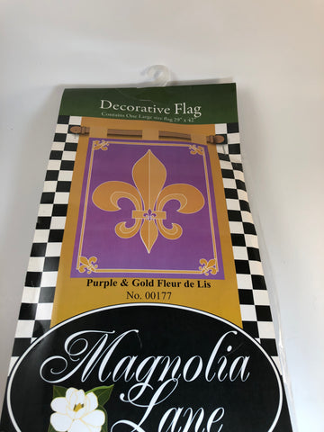 Double Applique Purple and Gold Fleur-de-Lis House Flag by Magnolia Lane