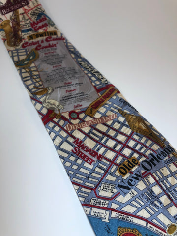 Museum Artifacts New Orleans Map Silk Tie