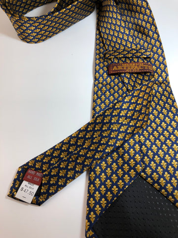 Museum Artifacts Silk Repeating Fleur-de-Lis Tie (Gold on Navy Blue)