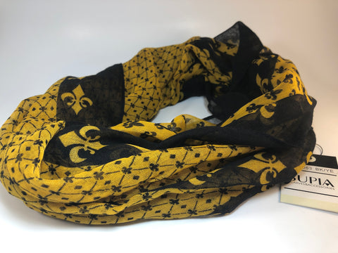 Black and Gold Infinity Fleur De Lis Scarf by Supia
