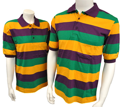 Mardi Gras striped polo shirt