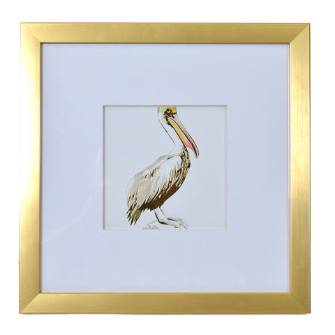 Watercolor and Gold Foil Pelican Print in Gold Frame