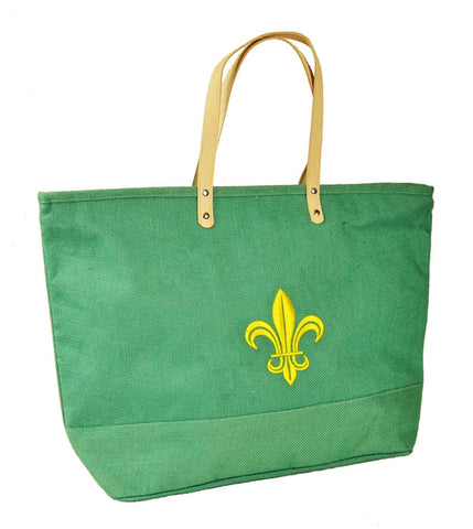 Seafoam Green Jute Tote Bag with Yellow Fleur-de-Lis