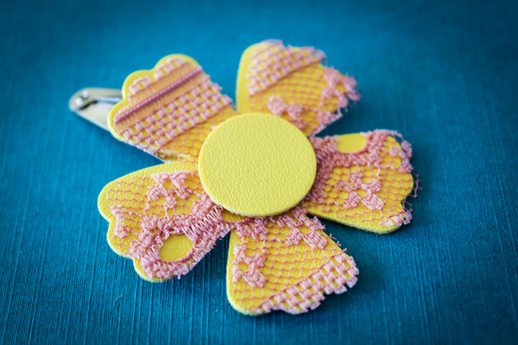 Yellow (Lace Lined) Easter Flower Clip