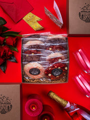 valentines day gift cook package with red velvet red wine and pink champagne cookies